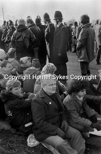 Bruce Kent peace protester pacifist  at nuclear cruise missile air base Greenham Common Berkshire England 1983 1980s <br /> Dr Doctor Bruce Kent a former Roman Catholic Priest and political activist.