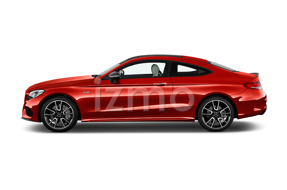 Car Driver side profile view of a 2018 Mercedes Benz C-Class AMG-C43 2 Door Coupe Side View