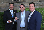 Gov. Brian Sandoval, left, and Lt. Gov. Brian Krolicki pose for photos following a ceremony marking the beginning of production of the third medallion in the four-part Sesquicentennial series, at the Nevada State Museum in Carson City, Nev., on Friday, May 30, 2014. <br /> Photo by Cathleen Allison