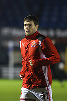 Fleetwood Town's Bobby Grant during the pre-match warm-up ahead of the The Checkatrade Trophy match between Bury and Fleetwood Town at Gigg Lane, Bury, England on 9 January 2018. Photo by Juel Miah/PRiME Media Images.