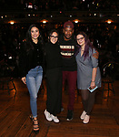 "Lauren Boyd, Sabrina Imamura, Bryan Terrell Clark and Holli Campbell   attends the cast Q & A during The Rockefeller Foundation and The Gilder Lehrman Institute of American History sponsored High School student #EduHam matinee performance of ""Hamilton"" at the Richard Rodgers Theatre on October 24, 2018 in New York City."