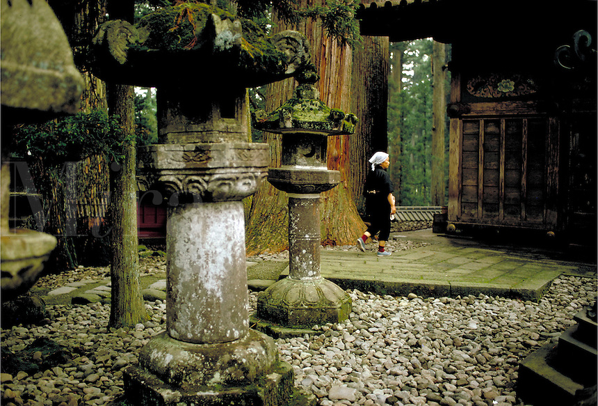 Peaceful garden at the Nara shrine in Nikko, Japan. In Japan, well maintained gardens, the sight and sound of water and lush greenery are considered important components for establishing peace of mind and tranquillity of soul. Nara, Japan Nikko.