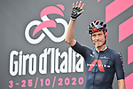 Rohan Dennis (AUS) Ineos Grenadiers at sign on before the start of Stage 4 of the 103rd edition of the Giro d'Italia 2020 running 140km from Catania to Villafranca Tirrena, Sicily, Italy. 6th October 2020.  <br /> Picture: LaPresse/Massimo Paolone   Cyclefile<br /> <br /> All photos usage must carry mandatory copyright credit (© Cyclefile   LaPresse/Massimo Paolone)