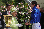 June 22, 2019, Ascot, UNITED KINGDOM - The Queen with James Doyle after winning The Diamond Jubilee Stakes (Gr 1) at Ascot Race Course  [Copyright (c) Sandra Scherning/Eclipse Sportswire)]