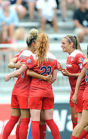 Boyds, MD - Saturday August 12, 2017: Estelle Johnson, Tori Huster, Shelina Zadorsky during a regular season National Women's Soccer League (NWSL) match between the Washington Spirit and The Boston Breakers at Maureen Hendricks Field, Maryland SoccerPlex.