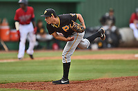 Bristol Pirates pitcher Luis Paula #18 delivers a pitch during a game against the Elizabethton Twins at Joe O'Brien Field June 30, 2014 in Elizabethton, Tennessee. The Twins defeated the Pirates 8-5 in game one of a double header. (Tony Farlow/Four Seam Images)