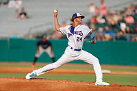 Tennessee Smokies starting pitcher Cam Sanders (24) delivers a pitch to the plate against the Mississippi Braves at Smokies Stadium on July 16, 2021, in Kodak, Tennessee. (Danny Parker/Four Seam Images)