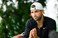 WASHINGTON, DC - AUGUST 1: Grigor Dimitrov (BGR) speaks with press on Media Day ahead of the 2021 Citi Open at Rock Creek Park Tennis Center on August 1, 2021 in Washington, DC.