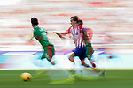 Antoine Griezmann of Atletico de Madrid fights for the ball with Deportivo Alaves' players during the La Liga 2018-19 match between Atletico de Madrid and Deportivo Alaves at Wanda Metropolitano on December 08 2018 in Madrid, Spain. Photo by Diego Souto / Power Sport Images