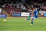 Arbroath v St Johnstone…15.08.21  Gayfield Park      Premier Sports Cup<br />Callum Hendry scores from the penalty spot<br />Picture by Graeme Hart.<br />Copyright Perthshire Picture Agency<br />Tel: 01738 623350  Mobile: 07990 594431