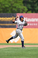 Mahoning Valley Scrappers catcher Gian Paul Gonzalez (4) throws to first base for the out during the second game of a doubleheader against the Auburn Doubledays on July 2, 2017 at Falcon Park in Auburn, New York.  Mahoning Valley defeated Auburn 3-2.  (Mike Janes/Four Seam Images)