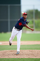 GCL Red Sox relief pitcher Junior Espinoza (57) during the first game of a doubleheader against the GCL Rays on August 9, 2016 at JetBlue Park in Fort Myers, Florida.  GCL Rays defeated GCL Red Sox 5-4.  (Mike Janes/Four Seam Images)