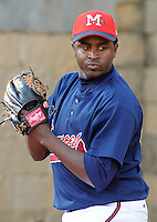 9 April 2008: RHP Luis Valdez (45) of the Mississippi Braves, Class AA affiliate of the Atlanta Braves, in the season's home opener against the Mobile BayBears at Trustmark Park in Pearl, Miss. Photo by:  Tom Priddy/Four Seam Images