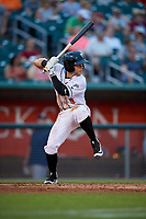 Lansing Lugnuts Rafael Lantigua (9) during a Midwest League game against the Burlington Bees on July 18, 2019 at Cooley Law School Stadium in Lansing, Michigan.  Lansing defeated Burlington 5-4.  (Mike Janes/Four Seam Images)