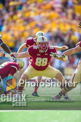 2 November 2013: Boston College Eagles tight end Michael Giacone (88) protects his kicker in the third quarter against the Virginia Tech Hokies at Alumni Stadium in Chestnut Hill, MA. The Eagles defeated the Hokies 34-27. Mandatory Credit: Ed Wolfstein-USA TODAY Sports *** RAW (NEF) Image File Available ***