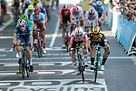Caleb Ewan (AUS) Lotto-Soudal just pips Dylan Groenewegen (NED) Team Jumbo-Visma by centimetres for the sprint finish of Stage 11 of the 2019 Tour de France running 167km from Albi to Toulouse, France. 17th July 2019.<br /> Picture: Colin Flockton   Cyclefile<br /> All photos usage must carry mandatory copyright credit (© Cyclefile   Colin Flockton)