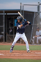 AZL Padres 2 shortstop Tucupita Marcano (1) at bat during an Arizona League game against the AZL Padres 1 at Peoria Sports Complex on July 14, 2018 in Peoria, Arizona. The AZL Padres 1 defeated the AZL Padres 2 4-0. (Zachary Lucy/Four Seam Images)