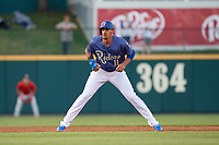 Frisco RoughRiders Ronald Guzman (11) leads off during a Texas League game against the Springfield Cardinals on May 4, 2019 at Dr Pepper Ballpark in Frisco, Texas.  (Mike Augustin/Four Seam Images)