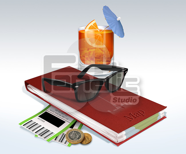 Illustrative image of drink, map book, sunglasses, boarding passes and coins representing travel