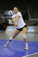 Omaha, NE - DECEMBER 20:  Outside hitter Erin Waller #12 of the Stanford Cardinal during Stanford's 2008 NCAA Division I Women's Volleyball Final Four Championship closed practice before playing the Penn State Nittany Lions on December 20, 2008 at the Qwest Center in Omaha, Nebraska.