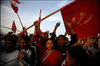 Anti-monarchy protesters march on the outskirts of Kathmandu, Nepal on 13 April, 2006.<br />