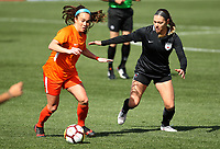 Portland, OR - Wednesday March 14, 2018: Mana Shim, Lauren Kaskie during a National Women's Soccer League (NWSL) pre season match between the Houston Dash and the Chicago Red Stars at Merlo Field.
