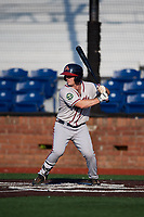 Danville Braves second baseman Greg Cullen (9) at bat during a game against the Johnson City Cardinals on July 29, 2018 at TVA Credit Union Ballpark in Johnson City, Tennessee.  Johnson City defeated Danville 8-1.  (Mike Janes/Four Seam Images)