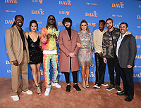 """LOS ANGELES, CA - JUNE 10: (L-R) Executive Producer Saladin Patterson, Christine Ko, GaTa, Dave Burd, Taylor Misiak, Travis Bennett, Andrew Santino, Co-Creator/Executive Producer Jeff Schaffer attend the Season Two Red Carpet event for FXX's """"DAVE"""" at the Greek Theater on June 10, 2021 in Los Angeles, California. (Photo by Frank Micelotta/FXX/PictureGroup)"""