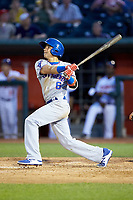 Jhonny Bethencourt (6) of the South Bend Cubs follows through on his swing against the Lansing Lugnuts at Cooley Law School Stadium on June 15, 2018 in Lansing, Michigan. The Lugnuts defeated the Cubs 6-4.  (Brian Westerholt/Four Seam Images)