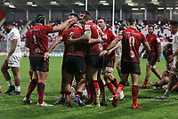 11 December 2020; Rob Herring scores his second and Ulsters third try during the Heineken Champions Cup Pool B Round 1 match between Ulster and Toulouse at Kingspan Stadium in Belfast. Photo by John Dickson/Dicksondigital