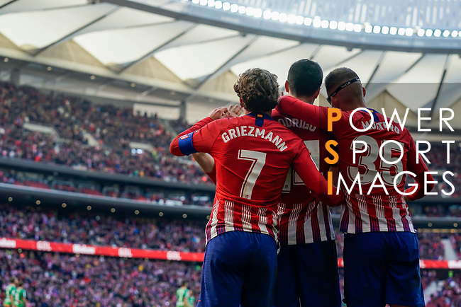 Rodrigo Cascante of Atletico de Madrid (C) celebrates scoring the goal with teammates during the La Liga 2018-19 match between Atletico de Madrid and Deportivo Alaves at Wanda Metropolitano on December 08 2018 in Madrid, Spain. Photo by Diego Souto / Power Sport Images