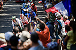 Fans cheer on the breakaway featuring Lukasz Wisniowski (POL) CCC Team, Lars Ytting Bak (DEN) Dimension Data, Stephane Rossetto (FRA) Cofidis, Paul Ourselin (FRA) Total Direct Energie and Alexis Gougeard (FRA) AG2R La Mondiale during Stage 16 of the 2019 Tour de France running 177km from Nimes to Nimes, France. 23rd July 2019.<br /> Picture: ASO/Pauline Ballet   Cyclefile<br /> All photos usage must carry mandatory copyright credit (© Cyclefile   ASO/Pauline Ballet)