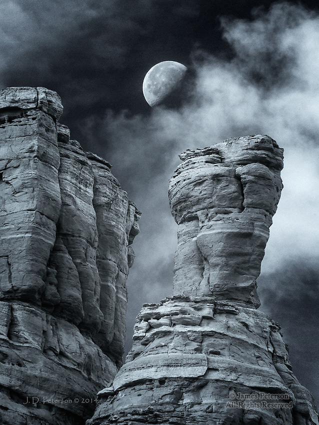 """Half Moon over The Cockscomb - Limited Edition - Call Jim at 928-554-4340 for current availability.<br /> <br /> This image received the """"Winner - Outstanding Achievement"""" award in the Nature Category of the International Black and White Spider Awards."""