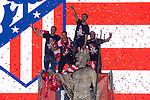 Atletico de Madrid Diego Godin, Fernando Torres, Gabi Fernandez and Koke Resurreccion celebrating Europa League Championship at Neptune Fountain in Madrid, Spain. May 18, 2018. (ALTERPHOTOS/Borja B.Hojas)