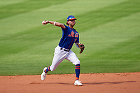 New York Mets shortstop Jake Hager (86) throws to first base during a Major League Spring Training game against the St. Louis Cardinals on March 19, 2021 at Clover Park in St. Lucie, Florida.  (Mike Janes/Four Seam Images)
