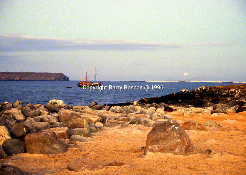 Boat anchored  in the Galapagos Islands, Equador