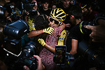 Egan Bernal (COL) Team Ineos wins the overall general classification Yellow Jersey hugs his mother at the end of Stage 21 of the 2019 Tour de France running 128km from Rambouillet to Paris Champs-Elysees, France. 28th July 2019.<br /> Picture: ASO/Pauline Ballet   Cyclefile<br /> All photos usage must carry mandatory copyright credit (© Cyclefile   ASO/Pauline Ballet)