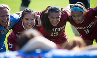 STANFORD, CA - October 21, 2018: Michelle Xiao, Alana Cook, Tegan McGrady at Laird Q. Cagan Stadium. No. 1 Stanford Cardinal defeated No. 15 Colorado Buffaloes 7-0 on Senior Day.