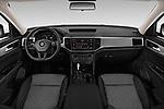 Stock photo of straight dashboard view of a 2019 Volkswagen Atlas S 5 Door SUV