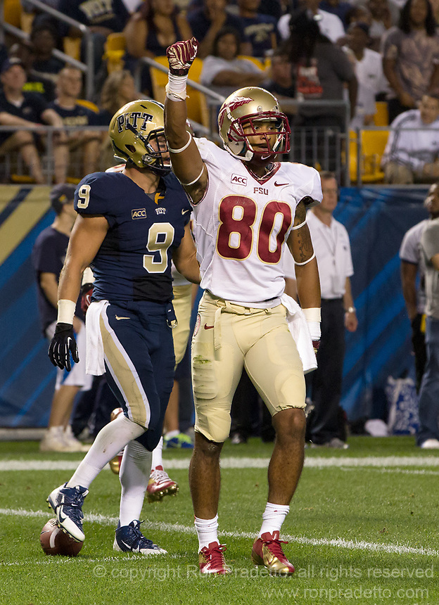 Florida State wide receiver Rashad Greene (80) celebrates his touchdown catch. Florida State defeated Pitt 41-13 at Heinz Field on September 2, 2013.