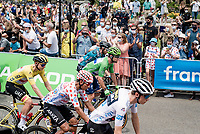 start of the stage in Carcassonne with all the jersey leaders on the first row<br /> <br /> Stage 14 from Carcassonne to Quillan (184km)<br /> 108th Tour de France 2021 (2.UWT)<br /> <br /> ©kramon