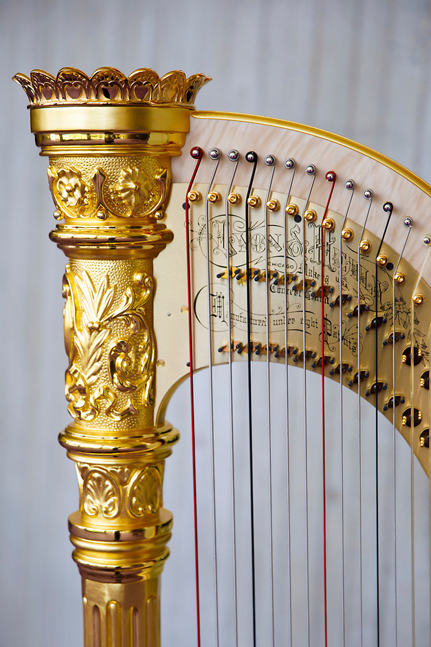 The Lyon and Healy Concert Grand Harp is pictured during the 11th USA International Harp Competition at Indiana University in Bloomington, Indiana on Saturday, July 13, 2019. (Photo by James Brosher)