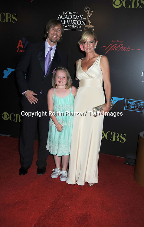 Maura West and family arriving at The 37th Annual Daytime Emmy Awards on June 27, 2010 at The Hilton in Las Vegas, Nevada.