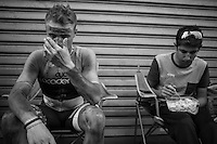 Mihkel Raim (EST/Cycling Academy), the only finisher of his team (12th!), returns to find his Cycling Academy teammates all cleaned up & waiting for him<br /> <br />  91th Schaal Sels 2016