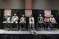 INDIANAPOLIS, IN - January 18, 2013: From left: 1990 World Cup coach Bob Gansler, 1998 World Cup coach Steve Sampson, 1995 and 1999 World Cup coach Tony DiCicco, 1991 World Cup captain and 2003 World Cup coach April Heinrichs, 1991 World Cup coach Anson Dorrance, 1999 World Cup captain Julie Foudy, and 2002 and 2006 World Cup captain Claudio Reyna. U.S. Soccer hosted a World Cup Coaches and Captains panel at the Indiana Convention Center in Indianapolis, Indiana during the NSCAA Annual Convention.