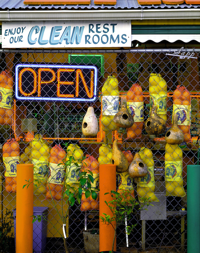 Fruit stand in northern Florida near Tallahassee, with signs. Cottondale, Florida.