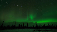 Aurora Borealis over the Alaska Range, outside Cantwell, Alaska.