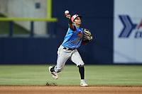 Guerreros de Fayetteville shortstop Bryan Arias (28) makes a throw to first base against the Rapidos de Kannapolis at Atrium Health Ballpark on June 24, 2021 in Kannapolis, North Carolina. (Brian Westerholt/Four Seam Images)