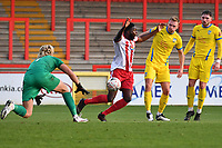 Inih Effiong of Stevenage FC calls for hand ball  during Stevenage vs Concord Rangers , Emirates FA Cup Football at the Lamex Stadium on 7th November 2020
