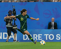 GRENOBLE, FRANCE - JUNE 18: Sam Kerr #20 of the Australian National Team crosses the ball during a game between Jamaica and Australia at Stade des Alpes on June 18, 2019 in Grenoble, France.